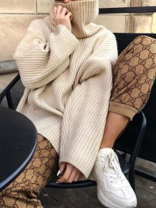 Khaki Solid Color Slit High Neck Fashion Sweater Pullover
