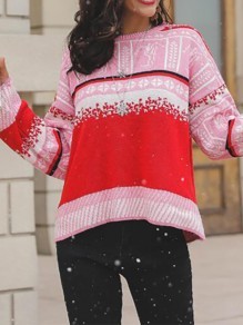 Multicolor Patchwork Print Round Neck Honey Girl Pullover Sweater