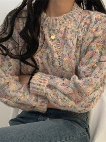 Apricot Floral Oversize Round Neck Honey Girl Pullover Sweater