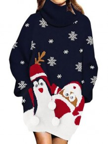 Dark Blue Cartoon Lantern Sleeve High Neck Going out Pullover Sweater