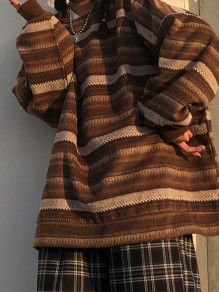 Coffee Striped Round Neck Vintage Pullover Sweater
