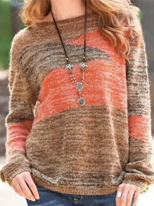 Orange Patchwork Round Neck Going out Pullover Sweater