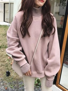 Pink Patchwork Round Neck Honey Girl Pullover Sweater