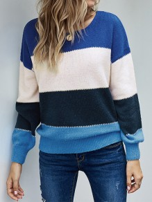 Blue Patchwork Round Neck Honey Girl Pullover Sweater