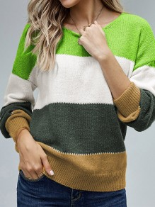 Green Patchwork Round Neck Honey Girl Pullover Sweater