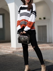 Orange Striped Print Round Neck Honey Girl Pullover Sweater