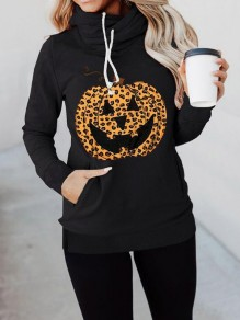 Black Leopard Pumpkin Print Pockets Halloween Casual Pullover Sweatshirt