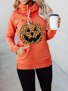 Orange Leopard Pumpkin Print Pockets Halloween Casual Pullover Sweatshirt