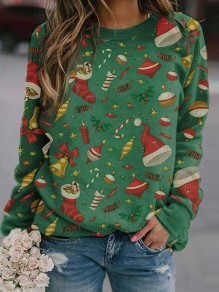 Green Floral Christmas Hat Round Neck Long Sleeve Fashion Sweatshirt