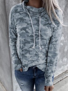 Army Green Camouflage Drawstring Cowl Neck Casual Pullover Sweatshirt