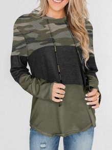 Army Green Camouflage Pullover Sweatshirt