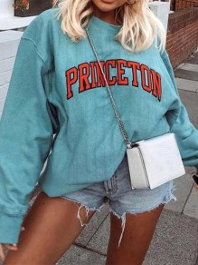 Blue Monogram Long Sleeve Fashion Sweatshirt