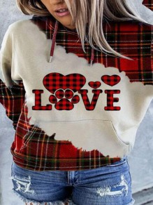 Red-Black Plaid Love Print Drawstring Christmas Hooded Pullover Sweatshirt