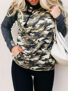 Grey Patchwork Camouflage Print Pockets Cowl Neck Hooded Pullover Sweatshirt