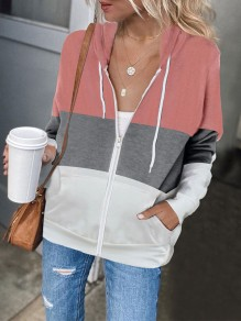 Pink Patchwork Zipper Pockets Fashion Hooded Sweatshirt