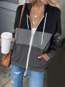 Grey Patchwork Zipper Pockets Fashion Hooded Sweatshirt