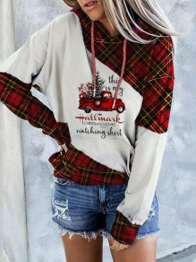 White Plaid Print Long Sleeve Fashion Hooded Sweatshirt