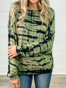 Green Patchwork Cut Out Backless Tie Dye Casual T-Shirt