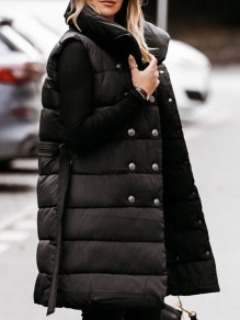 Black Solid Color Buttons Sleeveless?Long Vest Outerwear