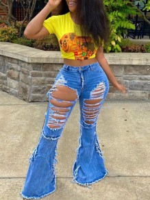Blue Cut Out Ripped Destroyed Flare Bell Bottom High Waisted Long Jeans