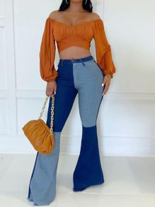 Blue Patchwork Pockets High Waisted Flare Bell Bottom Plus Size Long Jeans