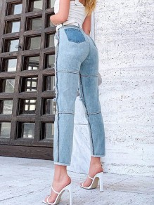Blue Patchwork Pockets Ripped Destroyed High Waisted Long Jeans