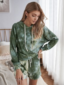 Army Green Tie Dye Drawstring Two Piece Hooded Long Sleeve Jumpsuit