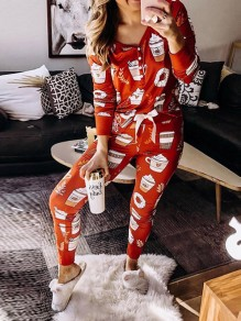 Red Floral Christmas Two Piece Loungewear Lounge Set Pajama Long Jumpsuit