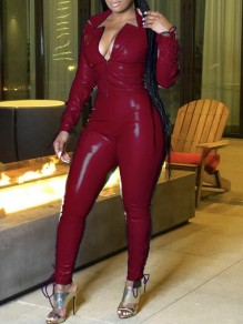 Burgundy Zipper Pu Leather Lace-up Turndown Collar Two Piece Long Jumpsuit