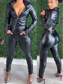 Black Zipper Pu Leather Lace-up Turndown Collar Two Piece Long Jumpsuit