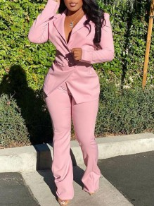 Pink Irregular Double Breasted Turndown Collar Two Piece Suit Long Jumpsuit