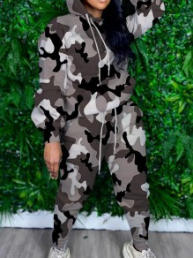 Black-White Camouflage Print Pockets Hooded Two Piece Casual Long Jumpsuit