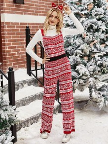 Red Floral Snow Christmas Palazzo Fashion Long Jumpsuit