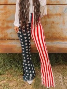 Red-White Striped American Flag Print High Waisted Flare Bell Bottom Long Pants