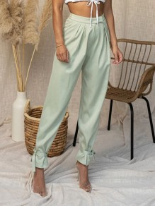 Green Patchwork Pockets Lace-up Mid-rise Fashion Pants