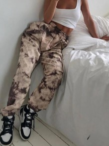 Brown Camouflage Tie Dye Cargo Haren High Waisted Long Pants