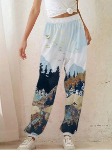 White Patchwork High Waisted Streetwear Wide Leg Palazzo Pants