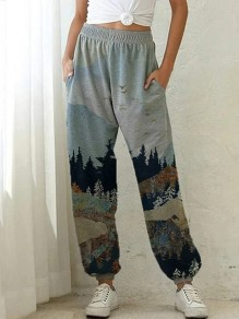 Grey Patchwork High Waisted Streetwear Wide Leg Palazzo Pants