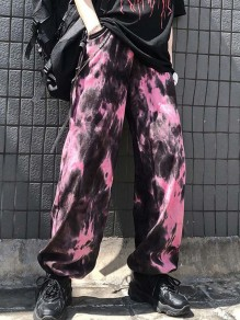 Pink Patchwork Chain Tie Dye High Waisted Streetwear Wide Leg Palazzo Pants