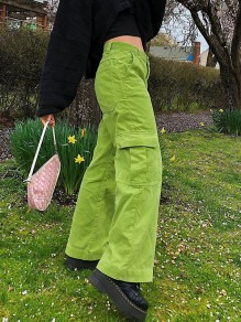 Green Patchwork Pockets Zipper High Waisted Hippy Pants