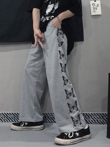 Grey Patchwork Print Mid-rise Fashion Wide Leg Palazzo Pants