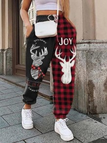 Red-Black Plaid Print Pockets Flannel High Waisted Christams Haren Cargo Long Pants