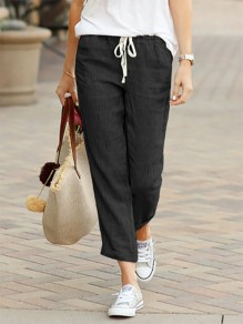 Black Patchwork Drawstring Mid-rise Fashion Long Pants