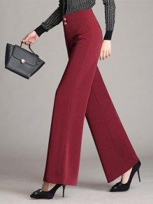 Red Patchwork Buttons High Waisted Going out Wide Leg Palazzo Pants