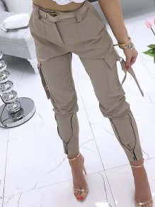 Khaki Patchwork Zipper Pockets Plus Size High Waisted Streetwear Pants