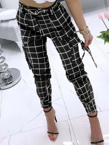Black Plaid Zipper Pockets Plus Size High Waisted Streetwear Pants
