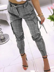 Grey Plaid Zipper Pockets Plus Size High Waisted Streetwear Pants