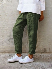 Green Patchwork Drawstring Plus Size Mid-rise Fashion Long Pants