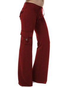 Red Patchwork Buttons Pockets Drawstring High Waisted Fashion Pants