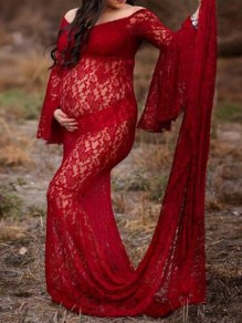 Burgundy Floral Lace Off Shoulder Photoshoot Flare Sleeve Tailing Maternity Dress